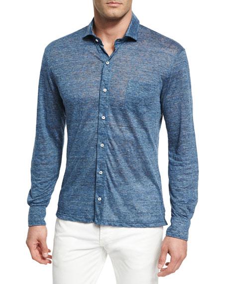 Mélange Linen Knit Sport Shirt, Blue