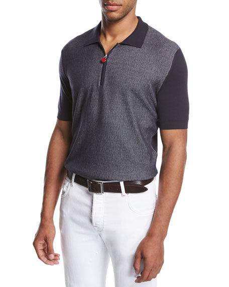 Nailhead Zip-Front Polo Shirt, Navy