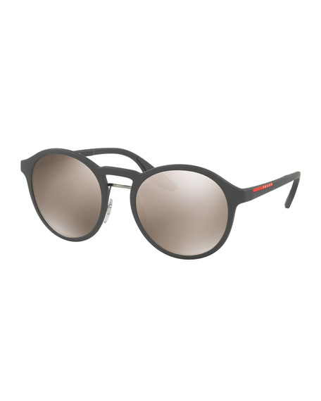 Prada Linea Rossa Men's Round Double-Bridge Sunglasses, Gray