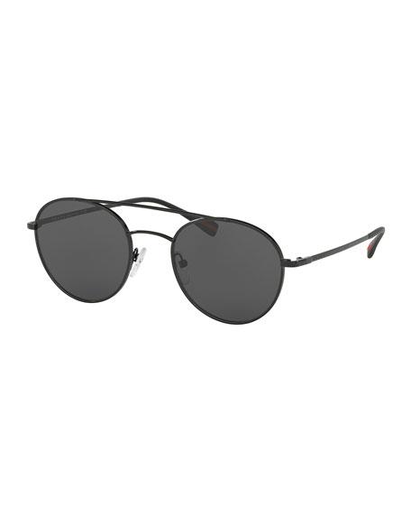 Prada Linea Rossa Round Aviator Sunglasses, Black