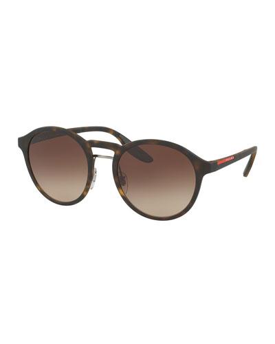 Linea Rossa Men's Round Double-Bridge Sunglasses, Havana (Brown)