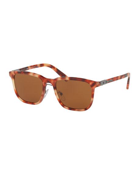 Prada Redux Men's Square Acetate Sunglasses, Red Havana