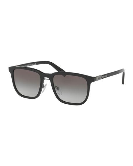 Prada Redux Men's Square Acetate Sunglasses, Black