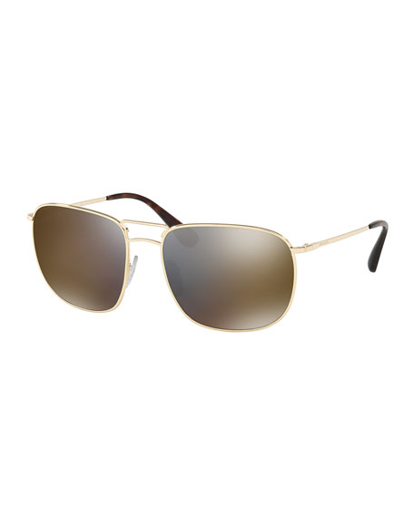 Men's Classic Metal Square Mirrored Sunglasses, Gold