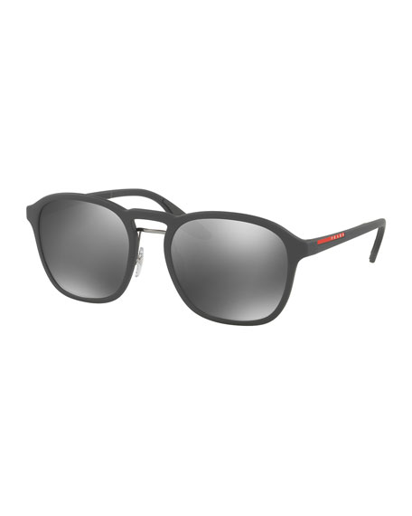 Prada Linea Rossa Men's Square Mirrored Sunglasses, Gray