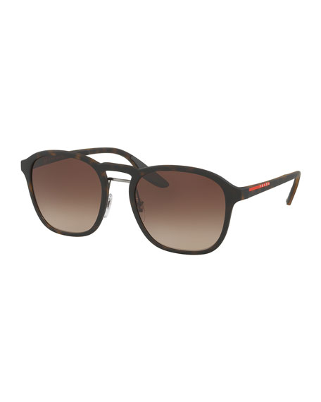 Prada Linea Rossa Men's Square Mirrored Sunglasses, Havana