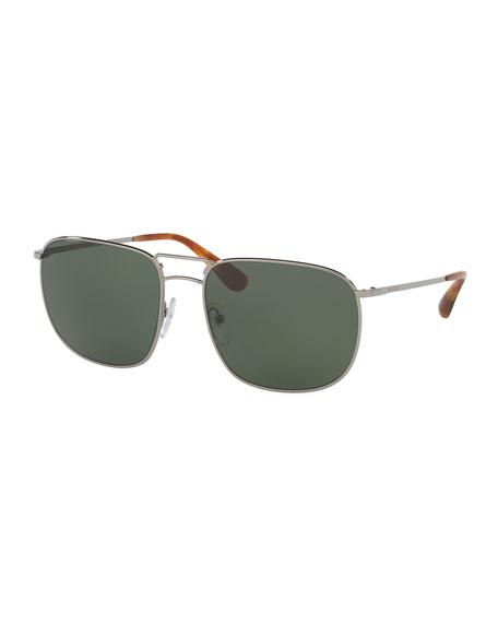 Prada Men's Classic Metal Square Sunglasses, Gray