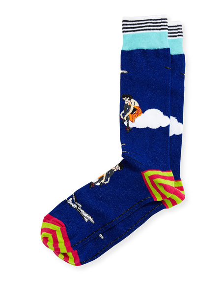 di Pedarius High Flying Striped Socks, Blue