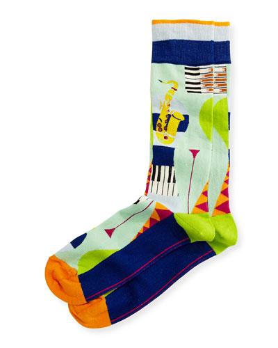 Bourbon Street Jazz Socks, Blue