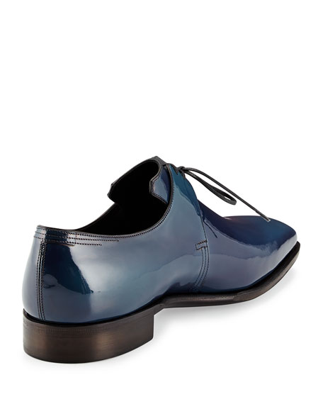 Arca Patent Leather Derby Shoe with Blue Patina, Navy