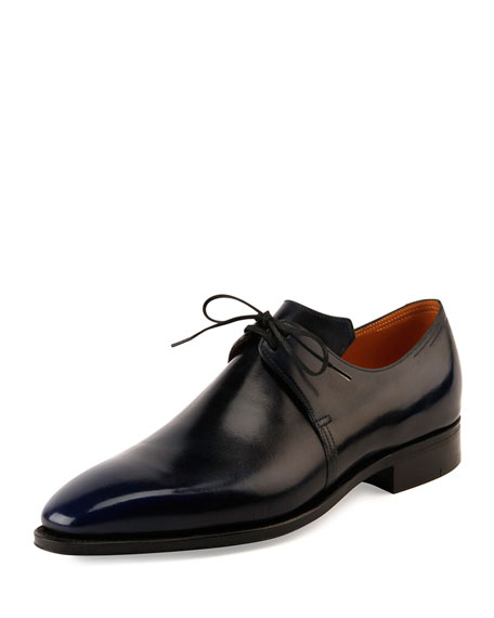 Corthay Arca Leather Derby Shoe w/Dark Blue Patina