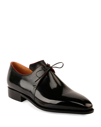 Arca Calf Leather Derby Shoe with Red Piping, Black
