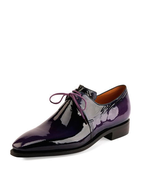 Corthay Arca Patent Leather Derby Shoe, Purple