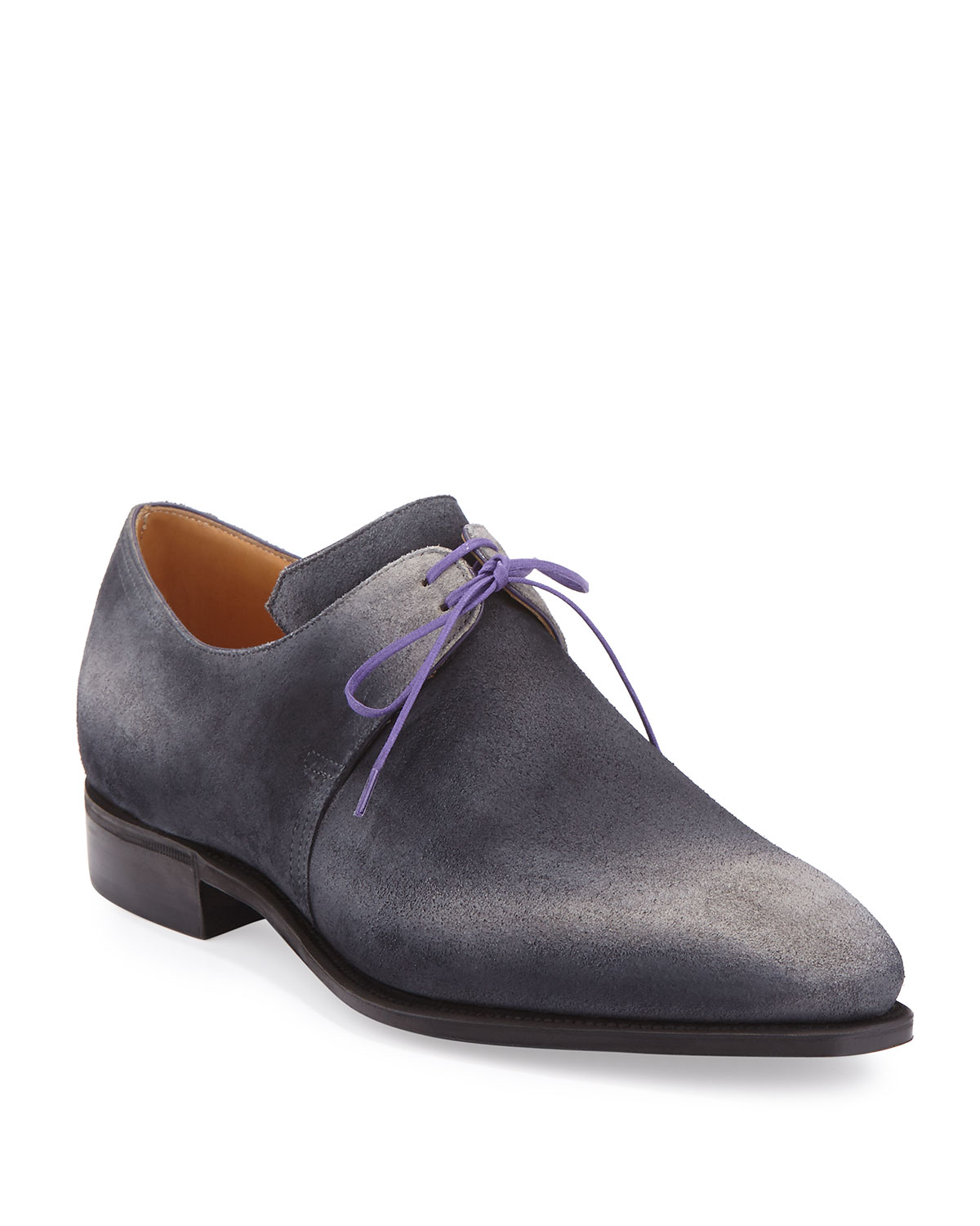 Corthay Arca Suede Purple Derby Shoe with Flint Patina & Purple Suede Piping, Grey c0e315
