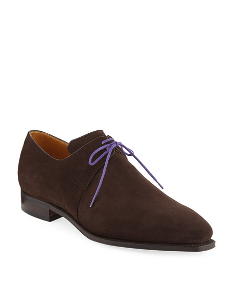 Corthay Arca Suede Lace-Up Shoe, Dark Brown