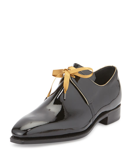 Arca Patent Leather Derby Shoe with Gold Piping, Black