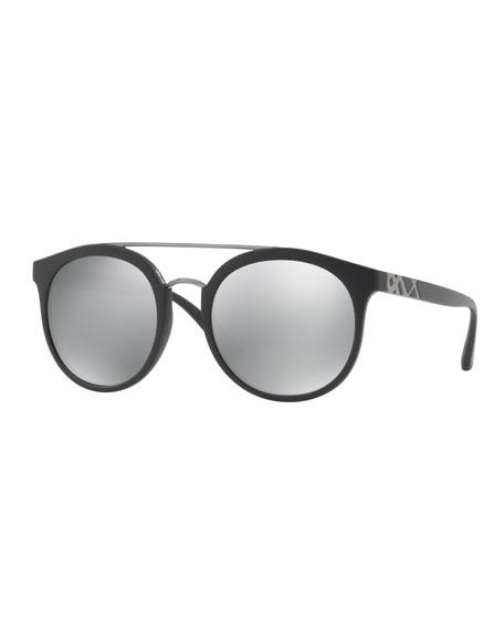 Burberry Top Bar Polarized Round Frame Sunglasses, Black