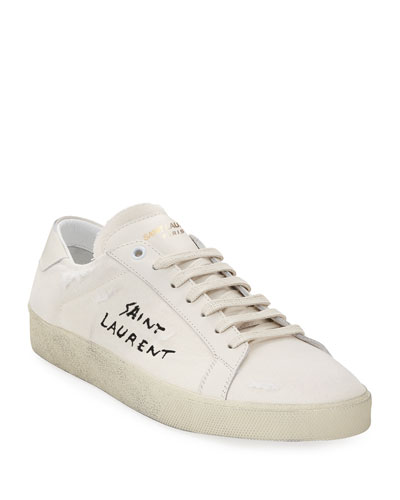 Men's SL/06 Distressed Low-Top Court Sneakers, Optic White