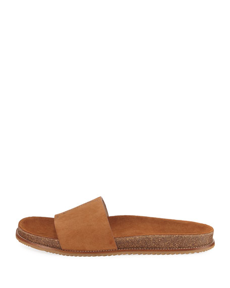 Embroidered YSL Suede Logo Slide Sandal, Brown