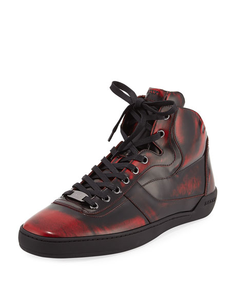 Eroy Shadow Leather High-Top Sneaker, Red