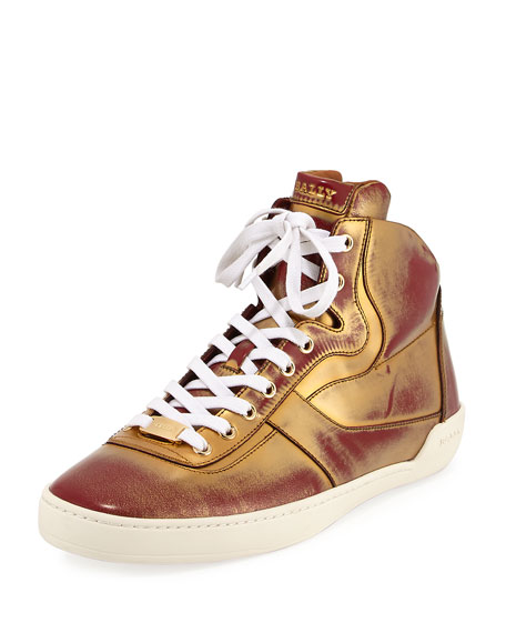 Bally Eroy Metallic Brushed Leather High-Top Sneaker, Brown/Gold