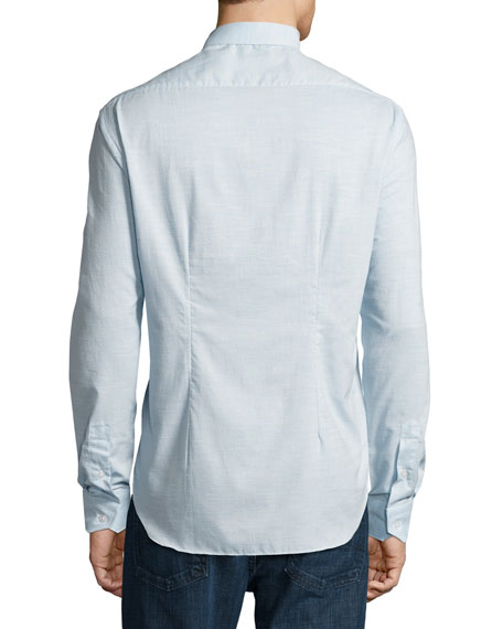 Ferrada Melange Coupe Cotton Shirt, Blue