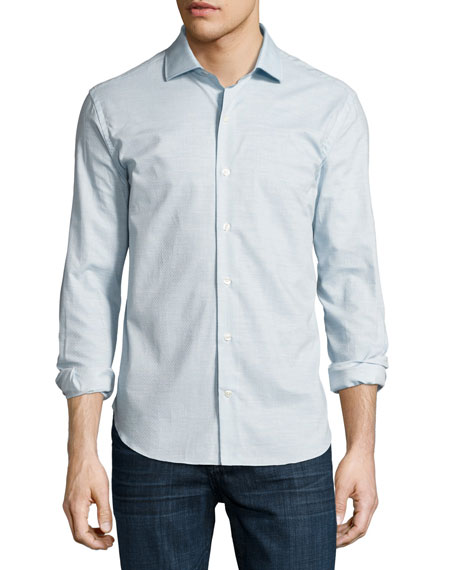 Culturata Ferrada Mélange Coupé Cotton Shirt, Blue