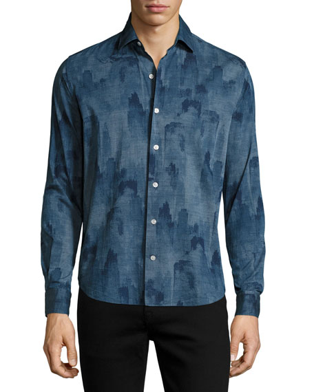 Culturata Voltri Printed Cotton Sport Shirt, Blue
