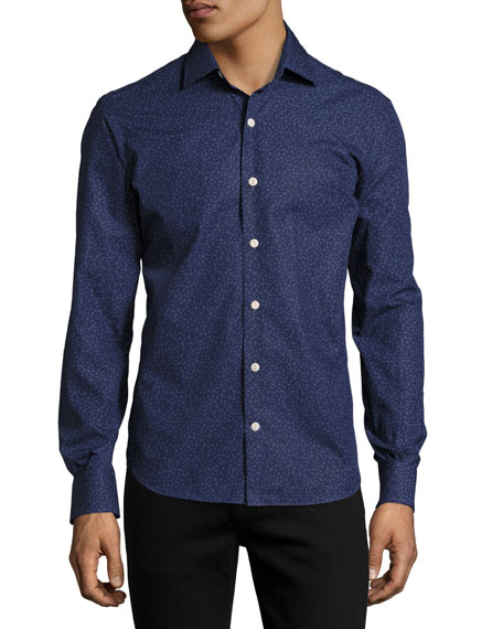 Culturata Cesio Floral-Print Cotton Shirt, Blue