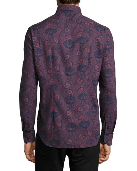 Carpasio Tropical-Print Cashmere-Feel Shirt, Navy