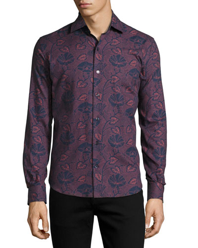Carpasio Tropical-Print Cashmere-Feel Shirt, Navy