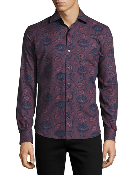 CULTURATA CARPASIO TROPICAL-PRINT CASHMERE-FEEL SHIRT, NAVY