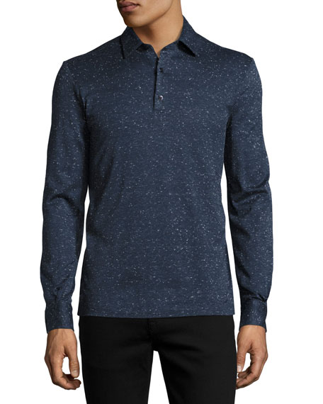 Culturata Teviglio Donegal Long-Sleeve Polo Shirt, Blue