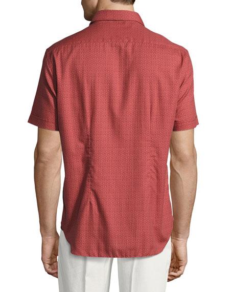 Medallion-Print Short-Sleeve Cotton Shirt