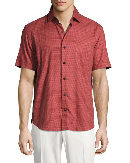 Culturata Medallion-Print Short-Sleeve Cotton Shirt