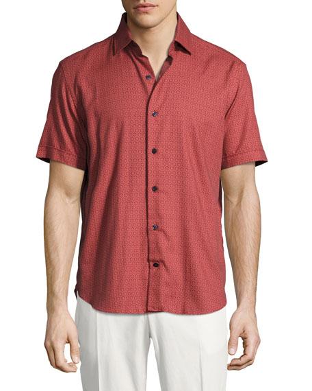 Culturata Medallion-Print Short-Sleeve Cotton Shirt
