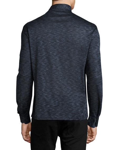 Teviglio Melange Long-Sleeve Polo Shirt, Blue