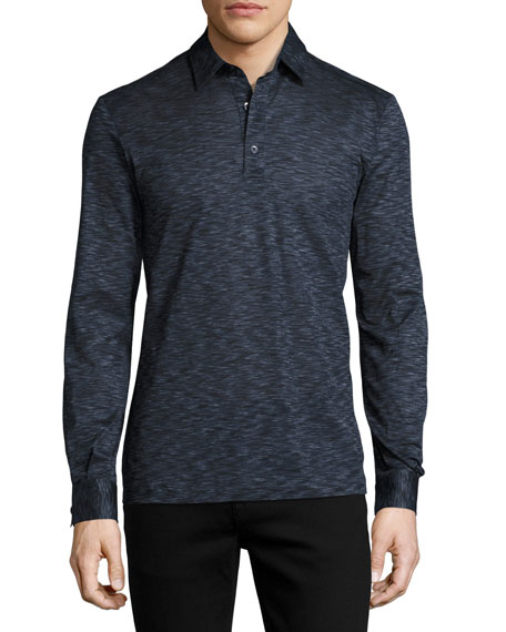 Teviglio Mélange Long-Sleeve Polo Shirt, Blue