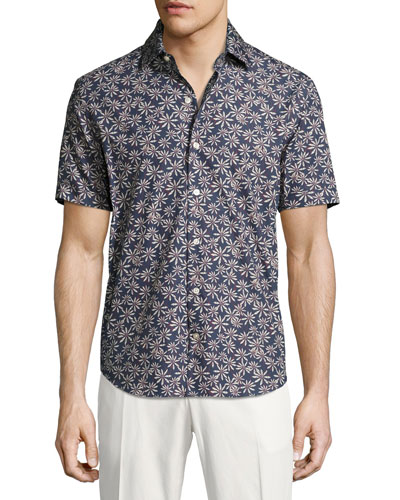 Floral-Print Short-Sleeve Cotton Shirt