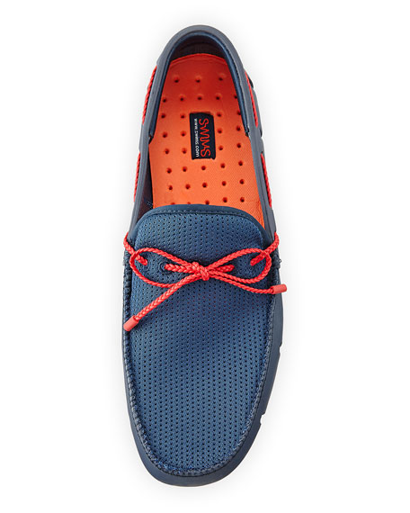 Mesh & Rubber Braided-Lace Boat Shoe, Navy/Red
