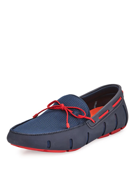 Swims Mesh & Rubber Braided-Lace Boat Shoe, Navy/Red