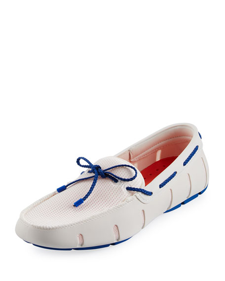 Swims Mesh & Rubber Braided-Lace Boat Shoe, White/Royal