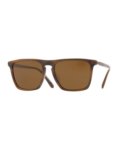 Rue de Sèvres 54 Square Acetate Polarized Sunglasses, Tobacco Bis/Bourbon