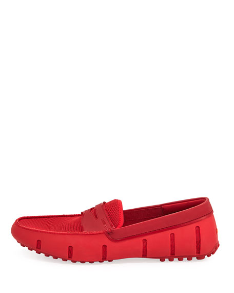 Mesh & Rubber Penny Loafer, Red
