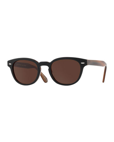 Sheldrake Leather 49 Round Acetate Sunglasses, Tobacco Bis