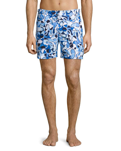 Bulldog Deepwell Swirl Printed Swim Trunks, Navy