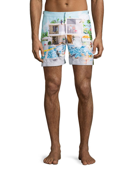 Orlebar Brown Bulldog Sandal Pool Printed Swim Trunks,