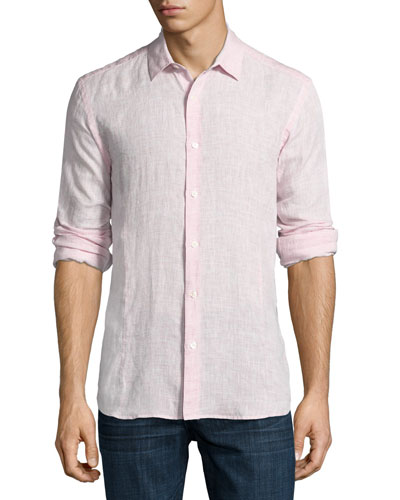Morton Long-Sleeve Linen Tailored-Fit Shirt, Plum
