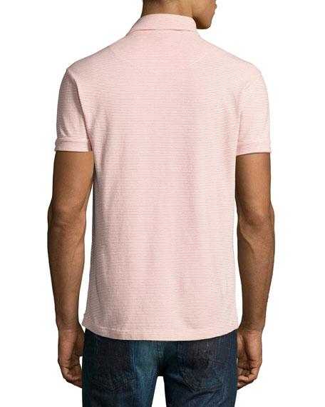 Sebastian Striped Tailored Polo Shirt, Plum