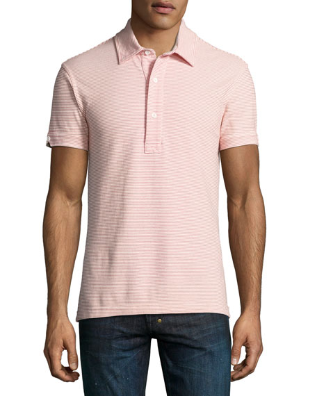 Orlebar Brown Sebastian Striped Tailored Polo Shirt, Plum